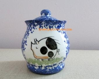 Canister, Jar & Lid, Small, Blue Sponge, Stylized Pig, Pottery Ceramic Glazed, Folk Decor, Blue White with Piggy ~ BreezyJunction.etsy.com