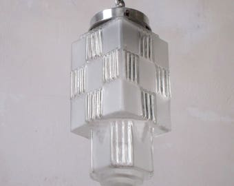 French Art Deco Large SKYSCRAPER Hanging Light Fixture 1930s-Rich Sculptured Deco Details-Art Deco Pendant Light-Skyscraper-Great Condition