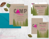Glamping Printable Invitation Suite - Birthday, Bachelorette Party