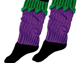 Blackberry Legwarmers Cosy Knit Purple & Green Boot Socks Womens Acrylic Leg Warmers Girls Cute Chunky Boot Toppers Kawaii Fruit Leg Wear