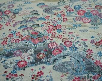 Yuzen Chayatsuji Vintage Japanese Tango chirimen silk kimono fabric