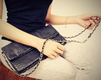 Black Snakeskin Clutch - Vintage 80s - Python Skin - Adjustable Strap - Evening Bag - Cross Body