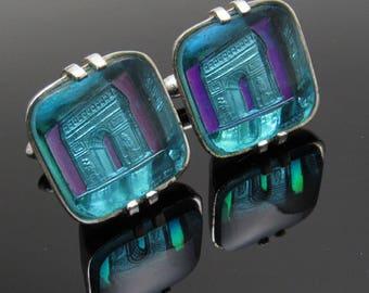 Swank Vintage Cufflinks Crystal Arts of the World Arc de Triomphe Mens Jewelry H838