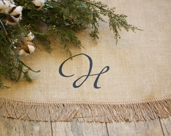 Christmas Tree Skirt | Large Burlap Tree Skirt | Farmhouse | Fringe | FULLY LINED | Optional Name or Initial |Approx. 65""