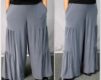New Artistic Plus Size Pnats, LagenLook Pants Tiered Pants, Wide Legged Pants. Fun,Comfort, Travel.