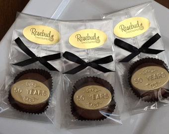 "12 Chocolate ""50 Years"" Oreo Cookie Favors Gold Dusted Wedding Anniversary Party Candy Fifty"