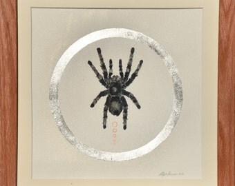 Original Painting / Tarantula / Ink Painting with Silver Leaf