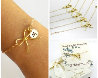 Free Shipping Set of 5 personalized gold-filled bow bracelets. bridesmaids, Gold filled Jewelry, Personalized, monograme bracelet