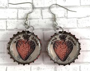 Sagrado Corazon Earrings Sacred Heart Earrings Heart Jewelry Mexican Jewelry Bottle Cap Earrings Beer Caps Recycled Jewelry