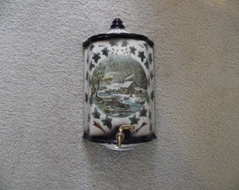Vintage Ceramic Pottery Porcelain Wall Hanging Urn with Currier and Ives Print Home In the Wilderness