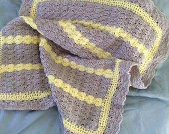 Baby Blanket** Gray and Yellow**Free Shipping