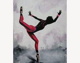 "Dance Ballet Painting ""Beijing' - STUDIO SALE 30% off - 9x12 Original Acrylic Painting Dancer Modern Ballerina"