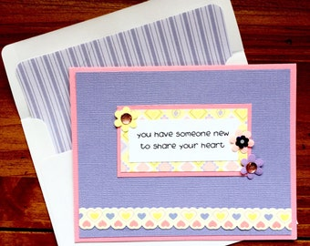 Baby Girl Congratulations Card-Adoption Card-For Parents, Grandparents, Great-Grandparents