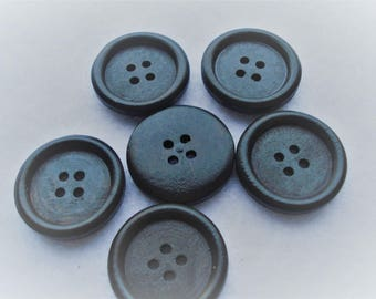 25mm Wood Sewing Buttons Scrapbooking 4 Holes Round Black Pack of 6 W2501