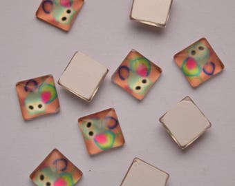10mm Cartoon Owl Pattern Cabochons, Printed Glass Square Cabochons, Pack of 5 Light Salmon Cabochons, C176