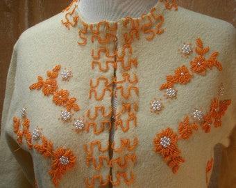 vintage 50s orange beaded sweater small ivory wool  pearls flowers unusual