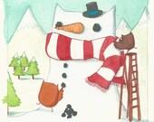 Original Painting - 'Owly Snowman' miniature illustration