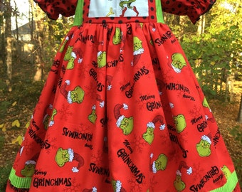 Size 5T.....Grinch Dress.....Made and ready to be shipped.