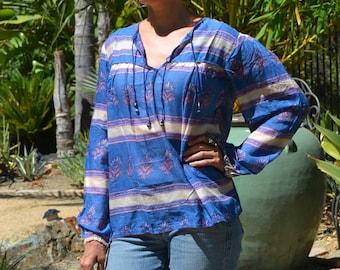 Vtg 70's India NWOT DEADSTOCK Boho floral striped blue /pink block print sheer thin cotton gauze long poet sleeve tunic top blouse sz S//M