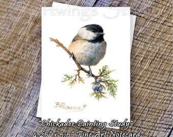 Chickadee Note Card - Chickadee Print - Bird Print - Wildlife Note Card - Wild Bird Cards