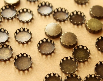 50 pc. Antique Bronze Brass Lace Edge Setting: 10mm in diameter - | FI-355
