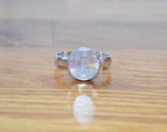 Sterling Silver Watermelon Tourmaline Ring SIZE P 1/4 Us Size 7 3/4 . gemstone  crystal gemstone green jewellery pink
