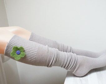 Knit long socks leg warmers cuff teenager beige woman girl one size yoga gym fitness teen handmade wool felted flowers decor green purple