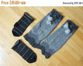ON SALE Knit long leg warmers and mittens boot cuff crochet woman girl small large medium size teen wool yoga gym fitness pompom grey black