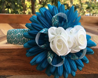 Teal Blue & White Gerber Flower Headband