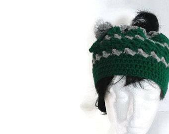 Messy Bun Hat with Drawstring Closure Slytherin House Colors Hogwarts Green & Silver, skiing, snowboarding, biking