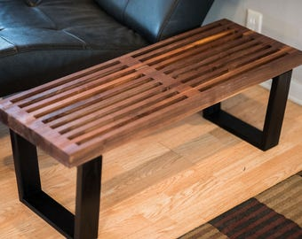 nelson style solid walnut benchcoffee table