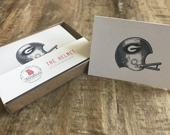 UGA Helmet Notecards & Envelopes - Set of 8 - 4x6""