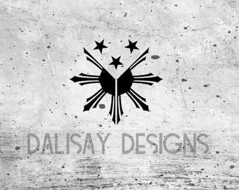 Tribal Filipino Sun and Stars Vinyl Decal