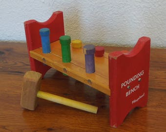 Vintage Playskool Pounding Bench Toy 1960's