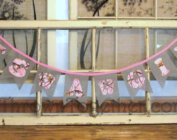 It's a Girl Camo Baby Shower Decor, Baby Shower Banner, Gender Reveal Shower Decor, Girl Baby Shower, It's a Girl Sign, Baby Girl Photoprop