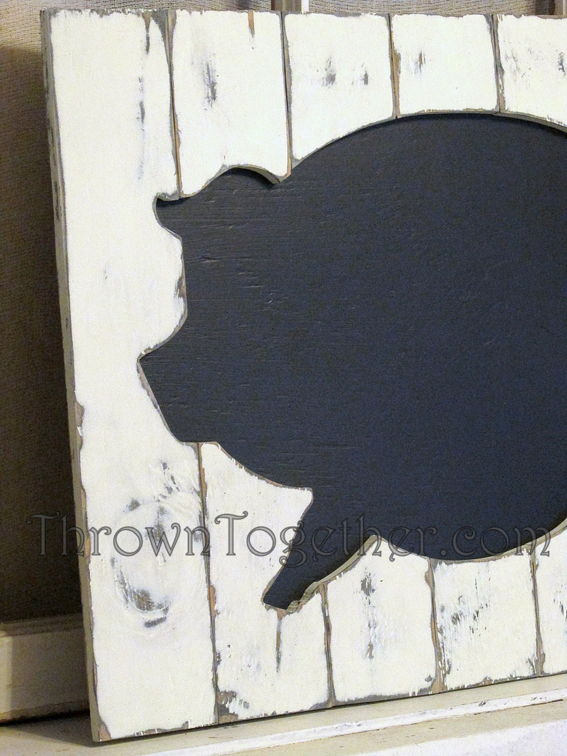 Farm Animal Kitchen Decor Handcrafted Wood Pig Kitchen Wall Art Rustic Wood Chalkboard Pig