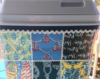 Lilly Pulitzer True Navy Get Nauti, Nautical Patch Work, Fabric Covered 20 quart Cooler