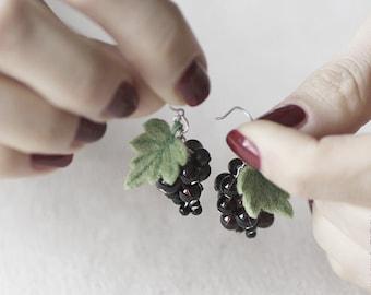 Black Currant Earrings - Food Jewelry - Berry Earrings - OOAK Earrings - Vegan