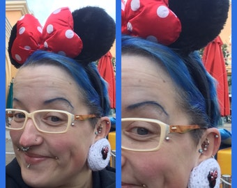 Crocheted plug mittens / lobe gloves / ear muffs with glittery Mickey and Minnie Mouse