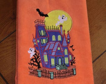 Embroidered Velour Hand Towel - Halloween - Haunted House - Orange Towel