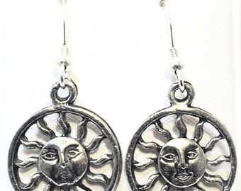 Pewter Smiling Sun Charms on Sterling Silver Ear Wire Dangle Earrings - 0551