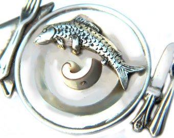 Sterling Chefs Table Trout Fish Dinner Brooch Signed GFMW Great Falls Metalworks Vintage Sterling Silver And Stone Unique Gift For Women