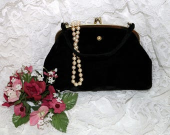 1950s Black Velvet Clutch - Purse  -  Vintage - Party Bag