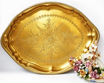 Vintage engraved brass tray,Heavy Brass Indian serving tray,Centerpiece Ornate Gold Tray,Coffee Serving Tray,Ornamental Oval Serving Tray