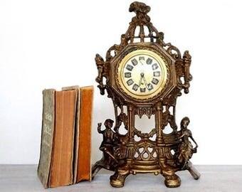 SALE Antique Mechanical Mantle Clock ,Vintage Baroque Mantle Clock ,Melux antik German Tabletop Clock,Mid Century Clock