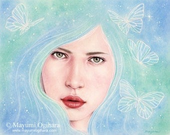 Spirit Guide Dream - Open edition art print, colored pencil drawing, inspirational, butterfly