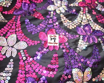 Pink, Purple, and Silver Iridescent Floral Sequins Fabric. great for costumes, dance, theater, formal wear, pageant.
