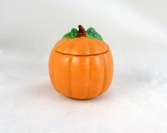 Ceramic Pumpkin Box -4 inches tall - hand made, Halloween, Proposal