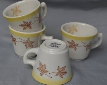"""eb1842-d Four VINTAGE Restaurant Ware Diner Coffee Cups """"Walker China Bedford Ohio ALCO Standard Corporation"""" - Maple Leaf Deco eb1842-d"""