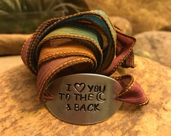 I love you to the moon and back silk wrap bracelet - yoga jewelry - bohemian gifts for men or women - wedding - proposal